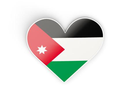 Flag of jordan, heart shaped sticker isolated on white. 3D illustration
