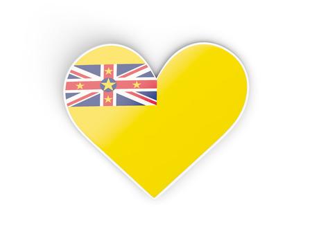 niue: Flag of niue, heart shaped sticker isolated on white. 3D illustration