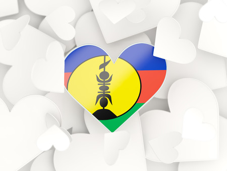 new caledonia: Flag of new caledonia, heart shaped stickers background. 3D illustration