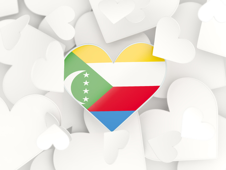 comoros: Flag of comoros, heart shaped stickers background. 3D illustration