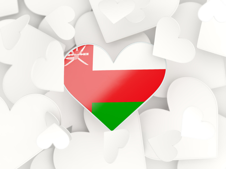 oman background: Flag of oman, heart shaped stickers background. 3D illustration Stock Photo