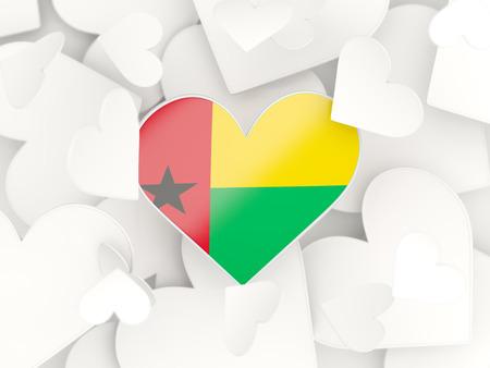 guinea bissau: Flag of guinea bissau, heart shaped stickers background. 3D illustration Stock Photo