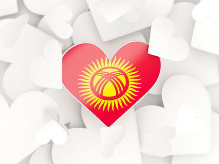 kyrgyzstan: Flag of kyrgyzstan, heart shaped stickers background. 3D illustration