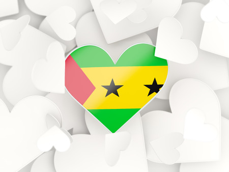 principe: Flag of sao tome and principe, heart shaped stickers background. 3D illustration