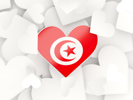 Flag of tunisia, heart shaped stickers background. 3D illustration