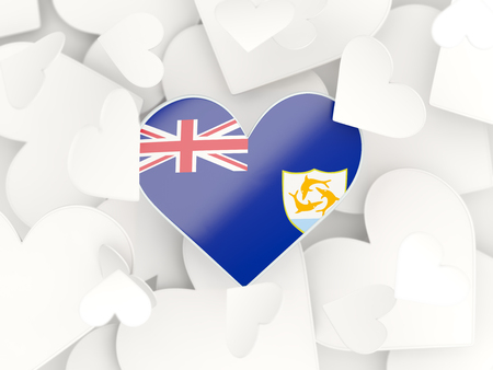 anguilla: Flag of anguilla, heart shaped stickers background. 3D illustration