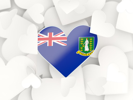virgin islands: Flag of virgin islands british, heart shaped stickers background. 3D illustration