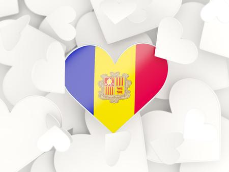 andorra: Flag of andorra, heart shaped stickers background. 3D illustration