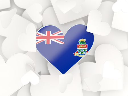 cayman islands: Flag of cayman islands, heart shaped stickers background. 3D illustration