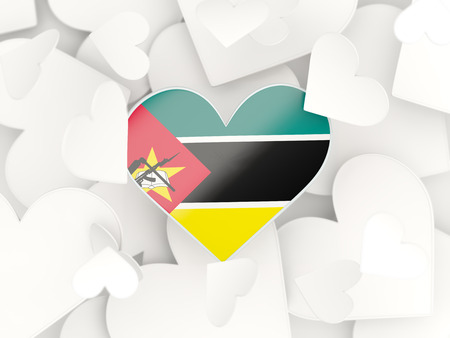 Flag of mozambique, heart shaped stickers background. 3D illustration