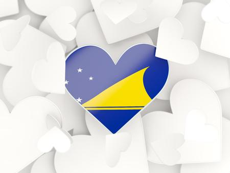 tokelau: Flag of tokelau, heart shaped stickers background. 3D illustration