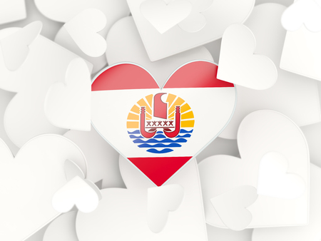 polynesia: Flag of french polynesia, heart shaped stickers background. 3D illustration Stock Photo