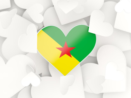 french guiana: Flag of french guiana, heart shaped stickers background. 3D illustration