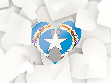 mariana: Flag of northern mariana islands, heart shaped stickers background. 3D illustration