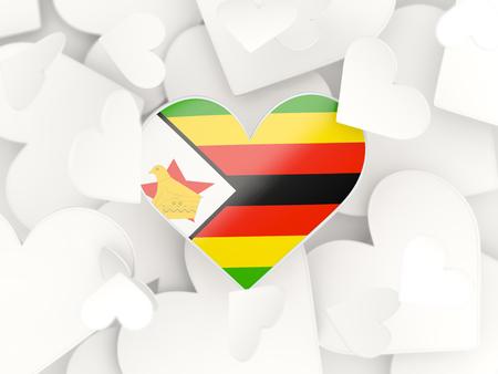 zimbabwe: Flag of zimbabwe, heart shaped stickers background. 3D illustration