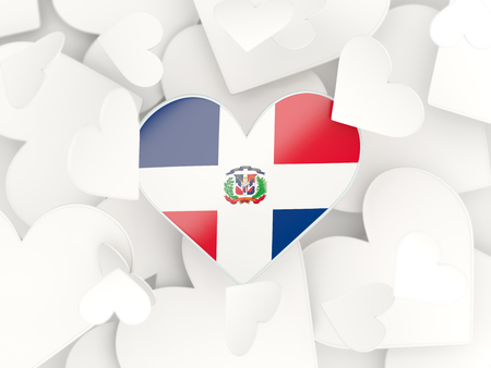 dominican republic: Flag of dominican republic, heart shaped stickers background. 3D illustration Stock Photo