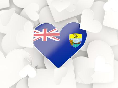 helena: Flag of saint helena, heart shaped stickers background. 3D illustration