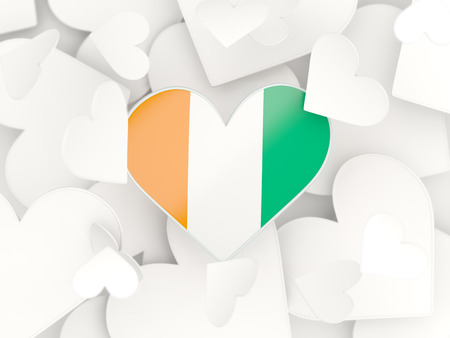 Flag of cote d Ivoire, heart shaped stickers background. 3D illustration