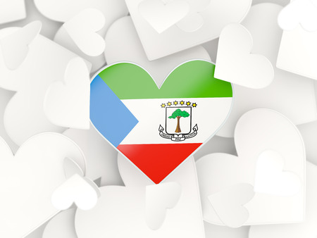 Flag of equatorial guinea, heart shaped stickers background. 3D illustration