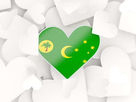 cocos: Flag of cocos islands, heart shaped stickers background. 3D illustration