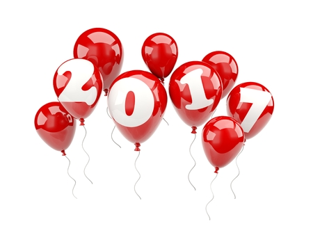 xmass: Red balloons with 2017 New Year sign. 3D illustration Stock Photo