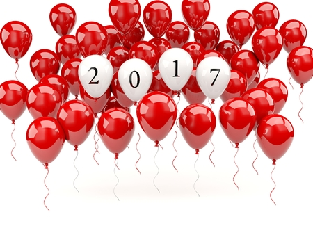 red balloons: Red balloons with 2017 New Year sign. 3D illustration Stock Photo