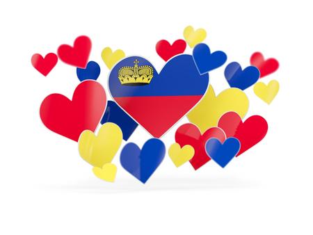 liechtenstein: Flag of liechtenstein, heart shaped stickers on white. 3D illustration