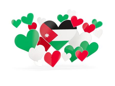 Flag of jordan, heart shaped stickers on white. 3D illustration