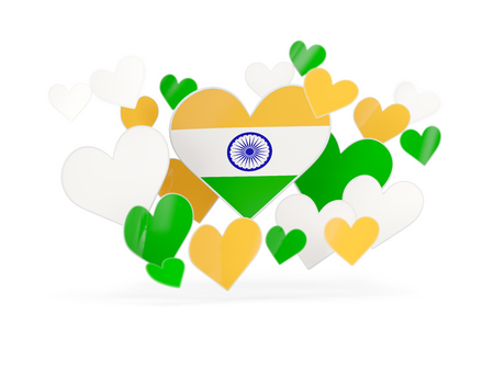 india 3d: Flag of india, heart shaped stickers on white. 3D illustration