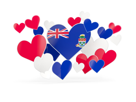 Flag of cayman islands, heart shaped stickers on white. 3D illustration