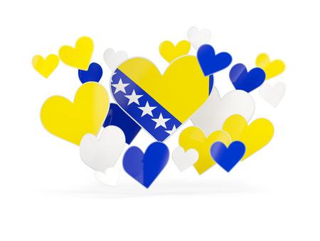 Flag of bosnia and herzegovina, heart shaped stickers on white. 3D illustration