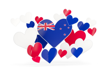 Flag of new zealand, heart shaped stickers on white. 3D illustration Stock Photo