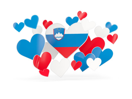 Flag of slovenia, heart shaped stickers on white. 3D illustration
