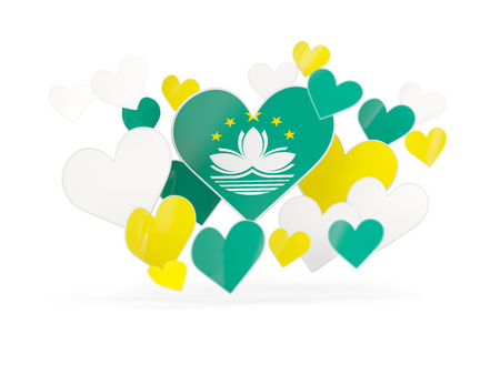 Flag of macao, heart shaped stickers on white. 3D illustration