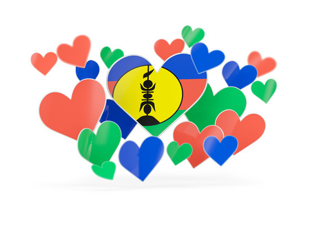 Flag of new caledonia, heart shaped stickers on white. 3D illustration
