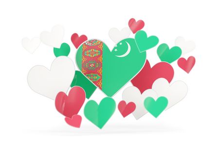 turkmenistan: Flag of turkmenistan, heart shaped stickers on white. 3D illustration