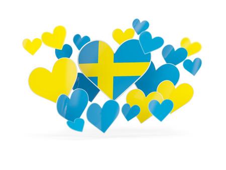 Flag of sweden, heart shaped stickers on white. 3D illustration