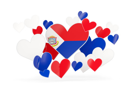 Flag of sint maarten, heart shaped stickers on white. 3D illustration