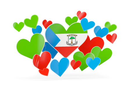 Flag of equatorial guinea, heart shaped stickers on white. 3D illustration