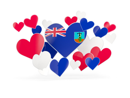 montserrat: Flag of montserrat, heart shaped stickers on white. 3D illustration Stock Photo