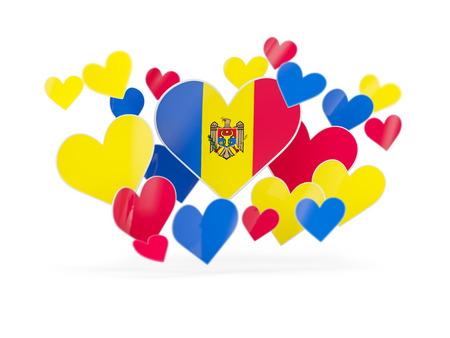 Flag of moldova, heart shaped stickers on white. 3D illustration
