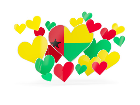 guinea bissau: Flag of guinea bissau, heart shaped stickers on white. 3D illustration Stock Photo