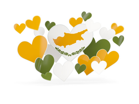 Flag of cyprus, heart shaped stickers on white. 3D illustration