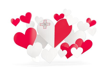 malta: Flag of malta, heart shaped stickers on white. 3D illustration