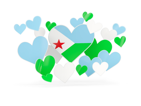 Flag of djibouti, heart shaped stickers on white. 3D illustration