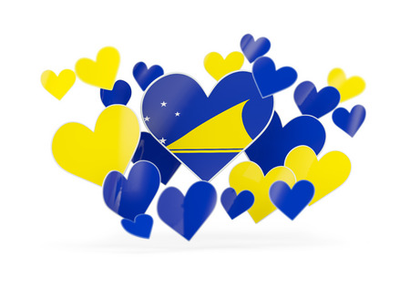 Flag of tokelau, heart shaped stickers on white. 3D illustration