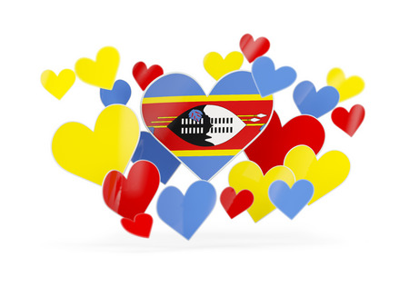 swaziland: Flag of swaziland, heart shaped stickers on white. 3D illustration