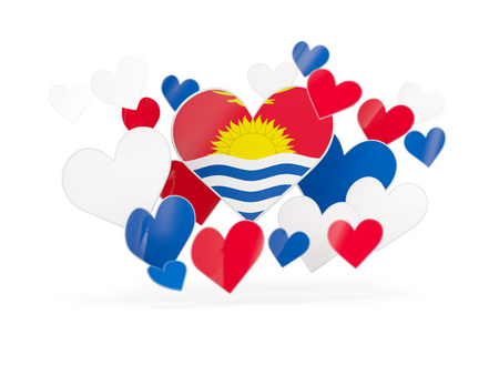 Flag of kiribati, heart shaped stickers on white. 3D illustration