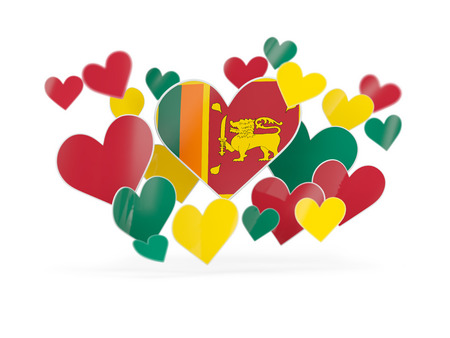 Flag of sri lanka, heart shaped stickers on white. 3D illustration Stock Photo