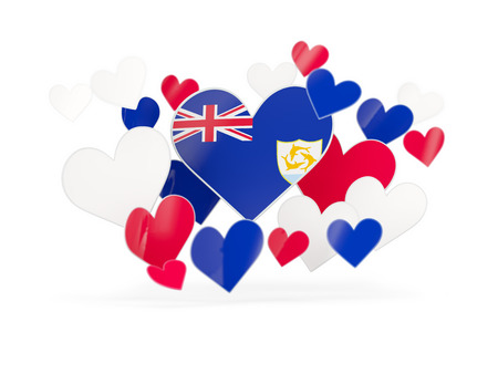 anguilla: Flag of anguilla, heart shaped stickers on white. 3D illustration